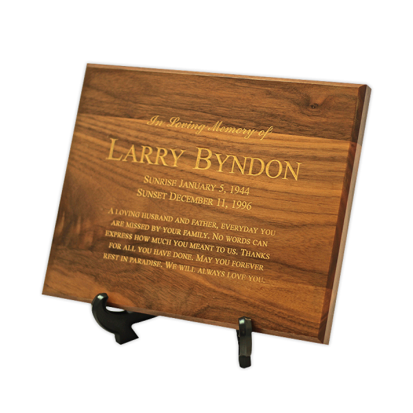Wood Cremation Plaque Memorial