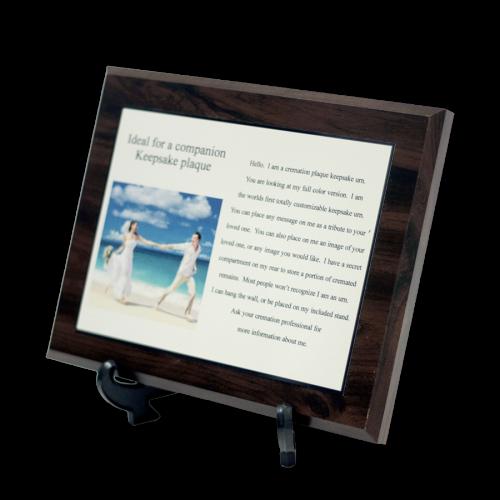 Picture cremation plaque keepsake urn