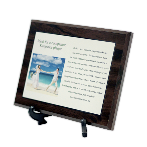 Picture cremation plaque keepsake urn